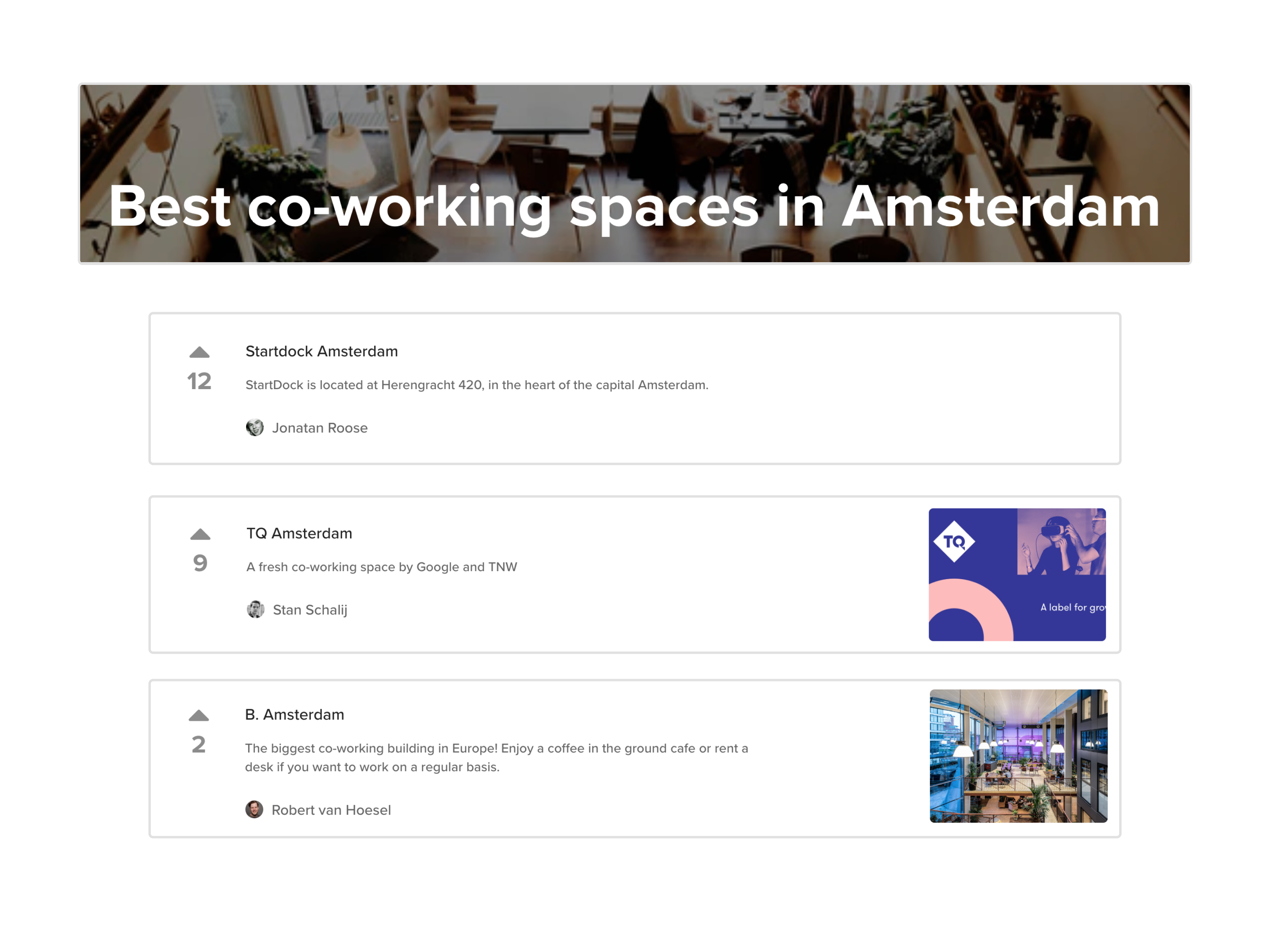 List of the best co-working spaces in Amsterdam